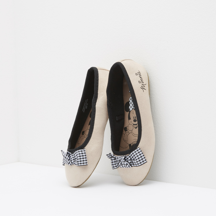 Minnie Mouse Chequered Bow Detail Slip-On Ballerinas
