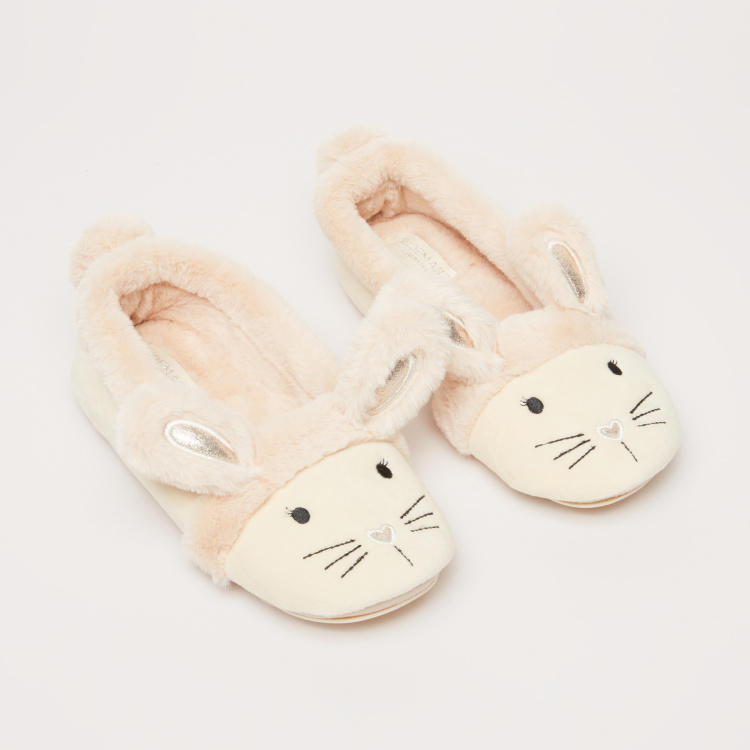 Plush Bedroom Shoes with Embroidered Detail