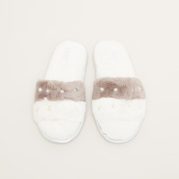 Missy Plush Bedroom Slides with Pearl Detail