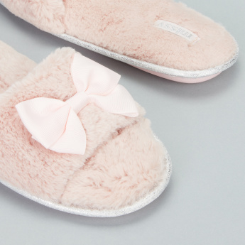 Missy Plush Bedroom Slides with Bow Detail