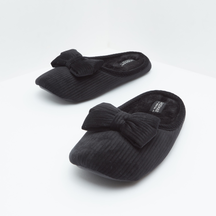 Ribbed Indoor Slides with Bow Detail