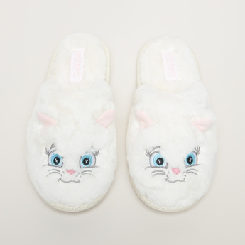 Plush Slides with Embroidered Detail