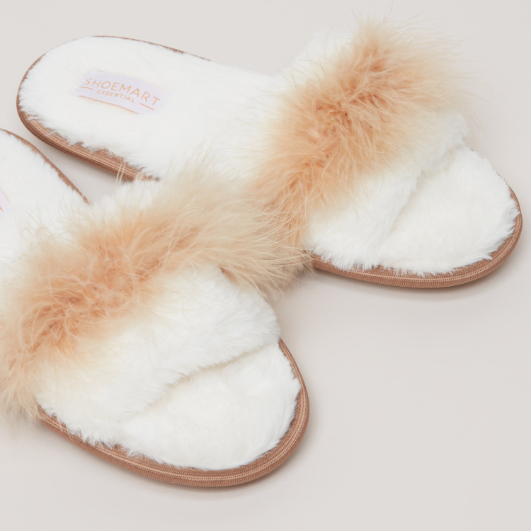 Plush Indoor Slides with Padded Footbed