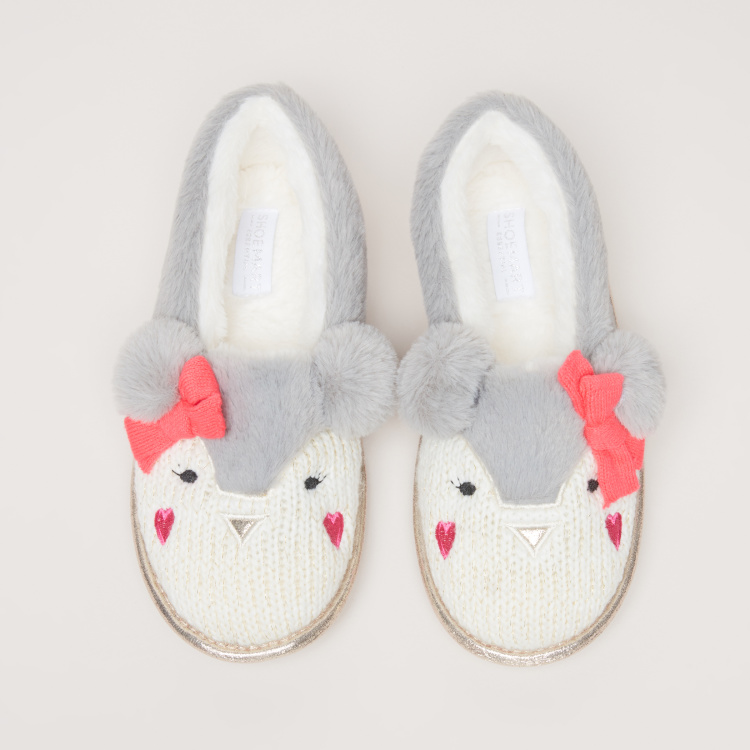 Plush Slip-On Indoor Shoes with Bow Applique