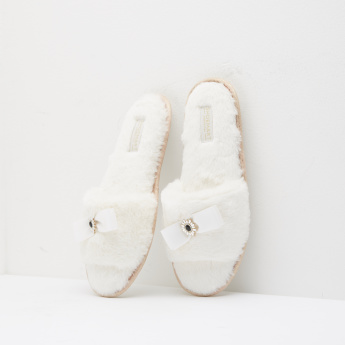 Plush Slippers with Bow Accent and Slip-On Closure