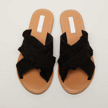 Ruffle Detail Slides with Crossed Straps