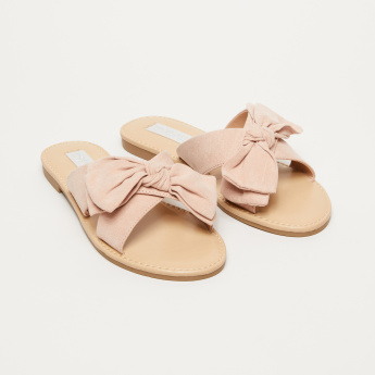 Cross Strap Slides with Bow Applique
