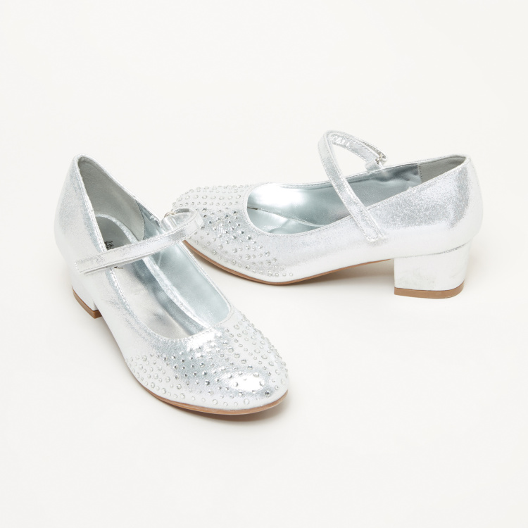 Little Missy Embellished Mary Jane Shoes with Hook and Loop Closure