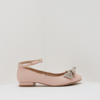 Embellished Ankle Strap Ballerinas with Buckle Closure