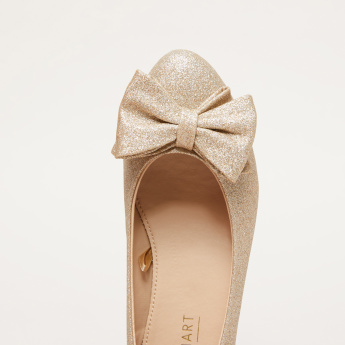 Embellished Slip-On Ballerina Shoes with Bow Detail