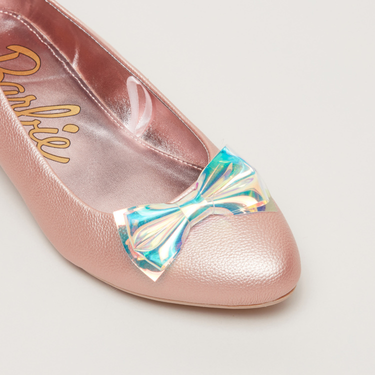 Barbie Printed Ballerina Shoes with Bow Detail
