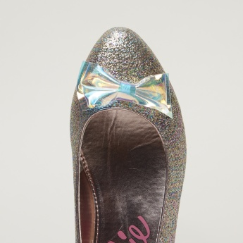 Barbie Printed Ballerina Shoes with Bow Applique