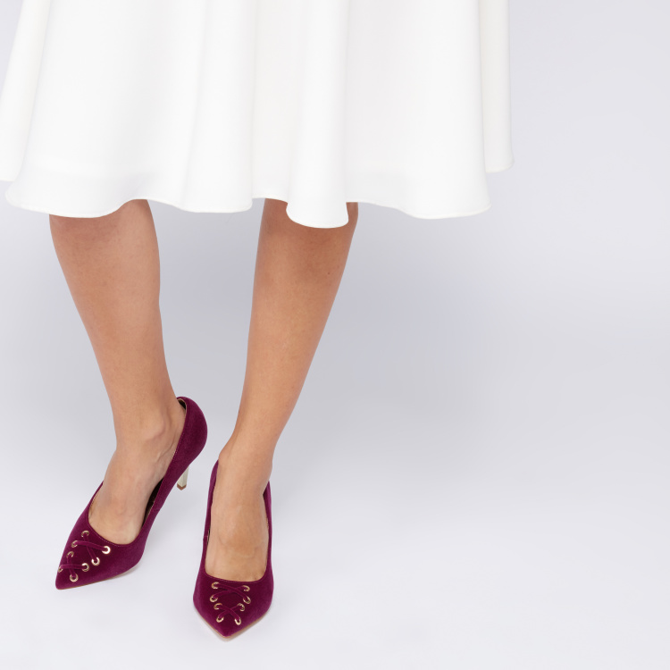Slip-On Pumps with Rivets and Lace Detail