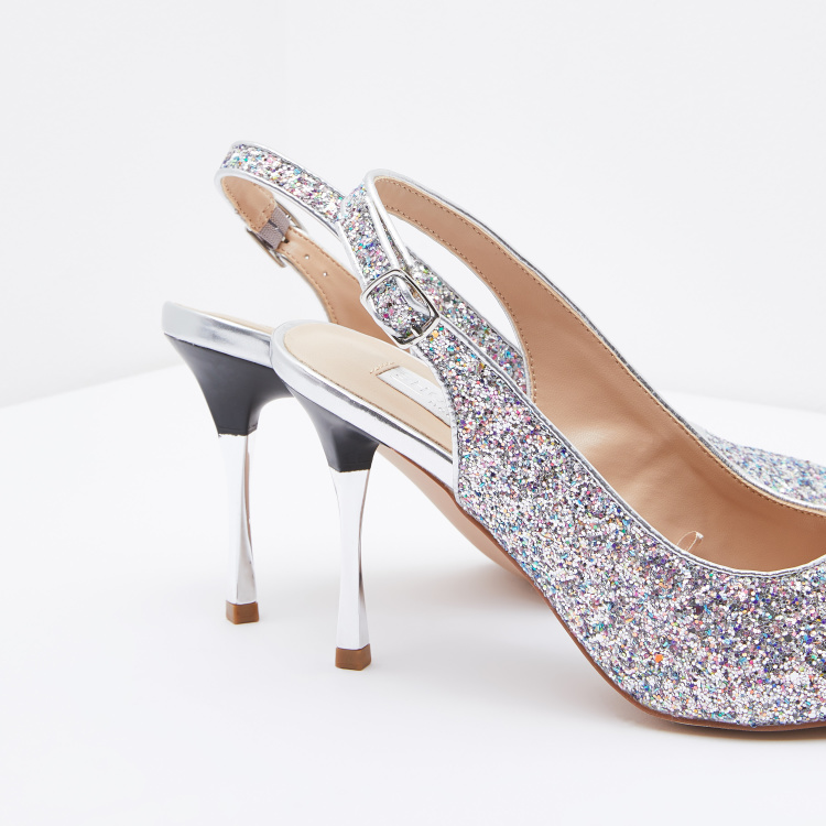 Glitter Detail Slingback with Stiletto Heels