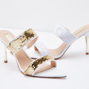 Pointed Toe Embellished Sandals with Stiletto Heels