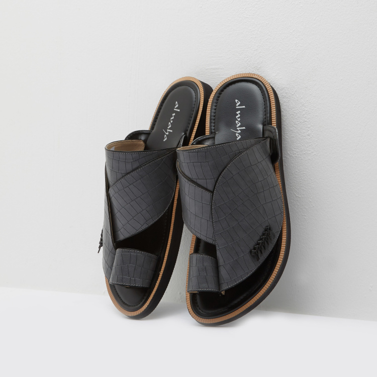 Al Waha Leather Textured Arabic Sandals with Toe Ring