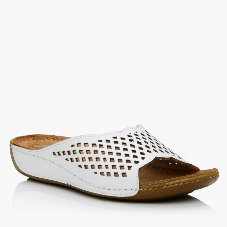 Cozy Laser Cut Slip-On Sandals