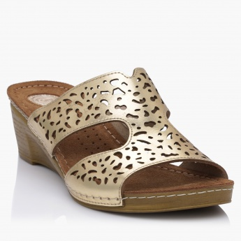 Cozy Laser Cut Slip-On Heel Sandals