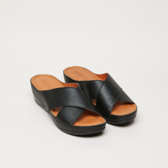Cross Strap Slides with Stitch Detailing