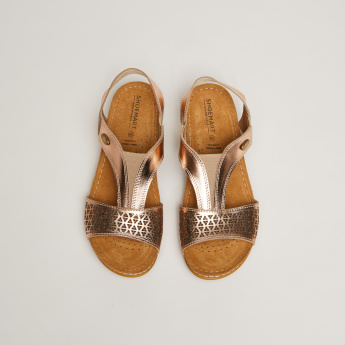 Laser-Cut Detail Sandals with Slingback