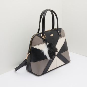 ELLE Patchwork Crossbody Bag with Zip Closure