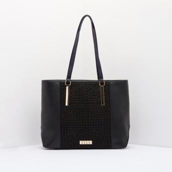 ELLE Studded Tote Bag with Zip Closure