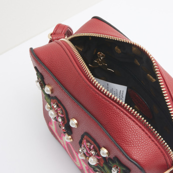 Missy Embroidered Applique Detail Crossbody Bag