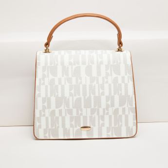 Elle Monogram Printed Satchel Bag with Magnetic Snap Closure
