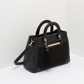ELLE Studded Handbag with Twin Handles