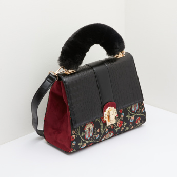ELLE Brocade Satchel Bag with Plush Top Handle