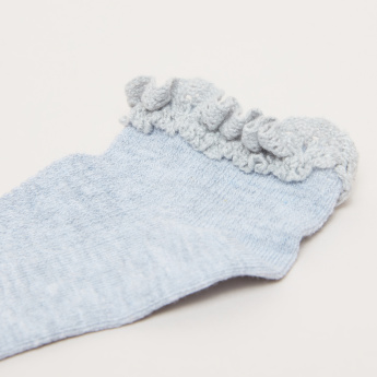 Textured Ankle Length Frilled Socks - Set of 3