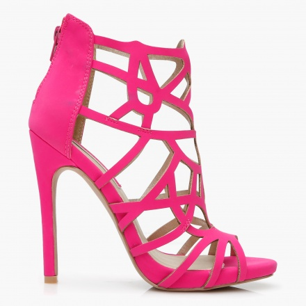 Paprika High Heel Laser Cut Sandals