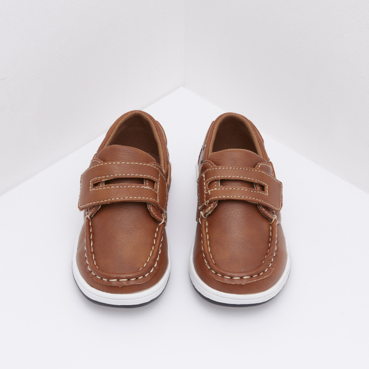 Textured Boat Shoes with Hook and Loop Strap Fastening