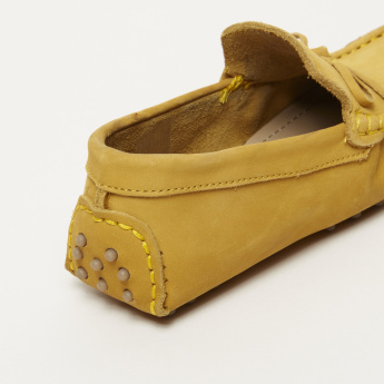 Barefeet Stitch Detail Slip-On Loafers with Bow Applique