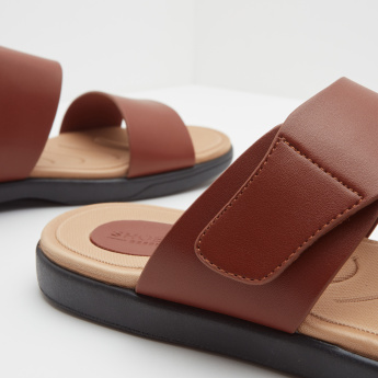 Textured Arabic Sandals with Slip-On Closure