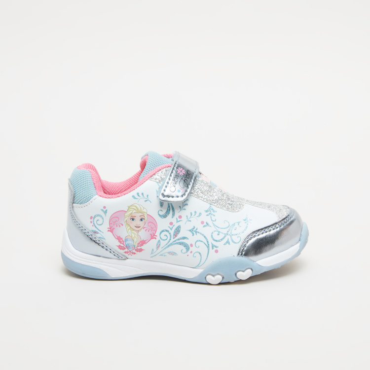 Frozen Printed Sneakers with Hook and Loop Closure