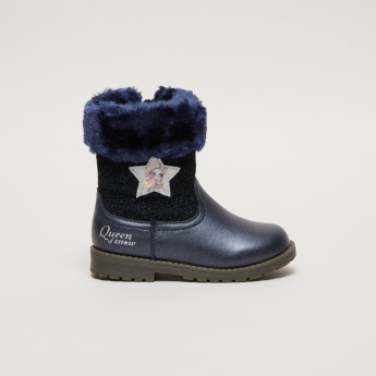 Frozen Glitter High Top Boots with Zip Closure