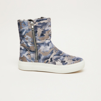 STEVE MADDEN Printed High Top Boots with Zip Closure