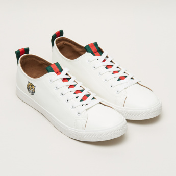 Animal Embroidered Lace-Up Sneakers