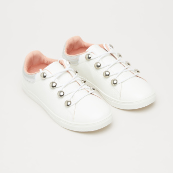 Textured Sneakers with Metallic Eyelets