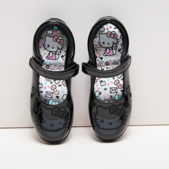 Hello Kitty Embroidered Mary Jane Shoes with Hook and Loop Closure