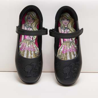 Barbie Embroidered Mary Jane Shoes with Hook and Loop Closure
