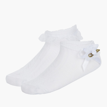 Juniors Textured Ankle Length Socks - Set of 2