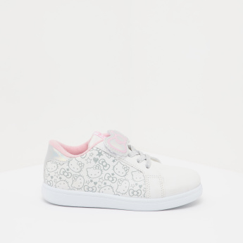 Hello Kitty Printed Low Ankle Sneakers with Lace-Up Closure