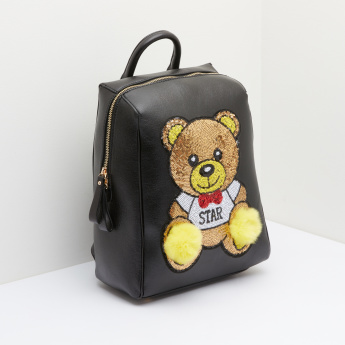 Missy Teddy Bear Sequin Detail Patchwork Backpack
