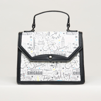 Missy Printed Satchel Bag with Magnetic Snap Closure