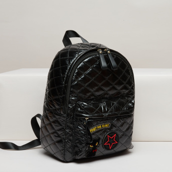 Missy Quilted Backpack with Zip Closure and Adjustable Straps