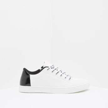 Zip Detail Sneakers with Printed Lace