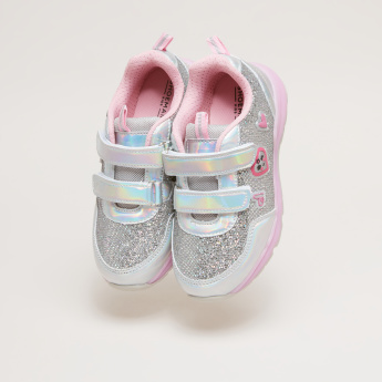 Textured Metallic Sneakers with Hook and Loop Closure