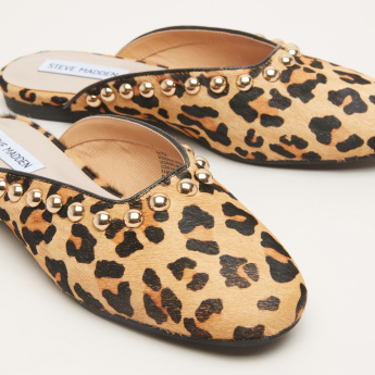 STEVE MADDEN Printed Mules with Stud Detail
